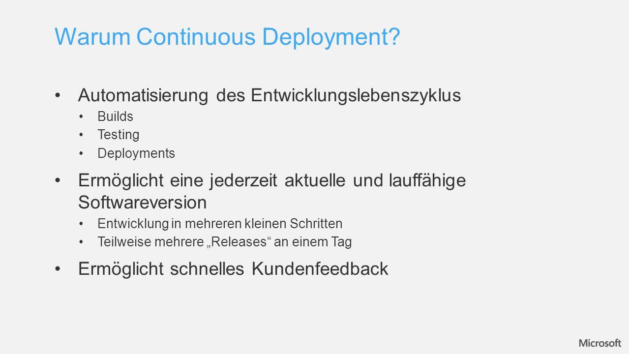 Automatisierung des Entwicklungslebenszyklus Builds Testing Deployments Ermöglicht eine jederzeit aktuelle und lauffähige Softwareversion Entwicklung in mehreren kleinen Schritten Teilweise mehrere Releases an einem Tag Ermöglicht schnelles Kundenfeedback Warum Continuous Deployment