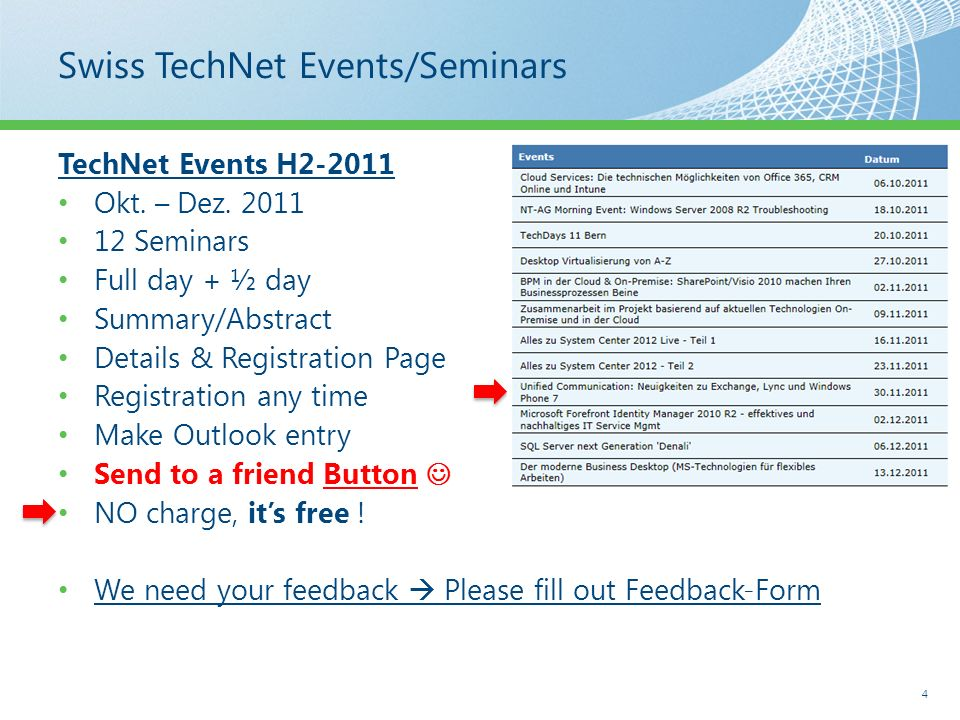 Swiss TechNet Events/Seminars TechNet Events H2-2011 Okt. – Dez. 2011 12 Seminars Full day + ½ day Summary/Abstract Details & Registration Page Regist
