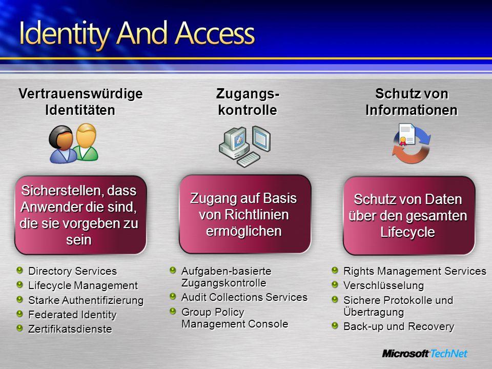 Zugangs- kontrolle Vertrauenswürdige Identitäten Schutz von Informationen Sicherstellen, dass Anwender die sind, die sie vorgeben zu sein Directory Se