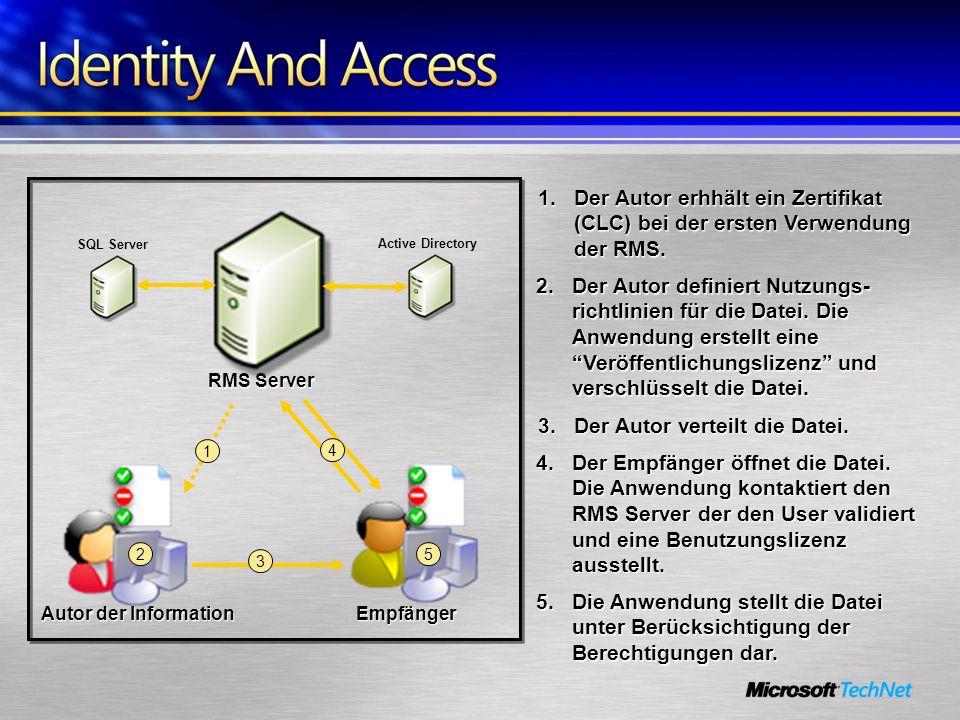 Autor der Information Empfänger RMS Server SQL Server Active Directory 2 3 4 5 2.Der Autor definiert Nutzungs- richtlinien für die Datei. Die Anwendun