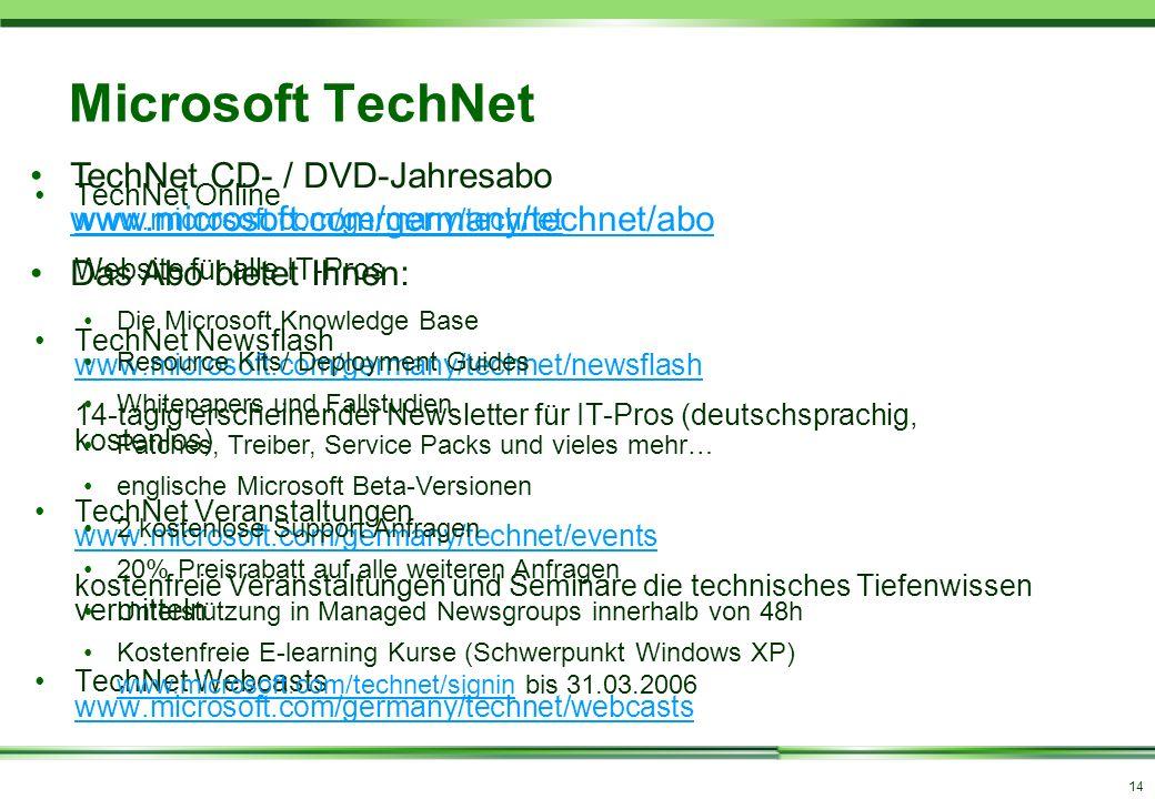 14 Microsoft TechNet TechNet Online www.microsoft.com/germany/technet Website für alle IT-Pros www.microsoft.com/germany/technet TechNet Newsflash www