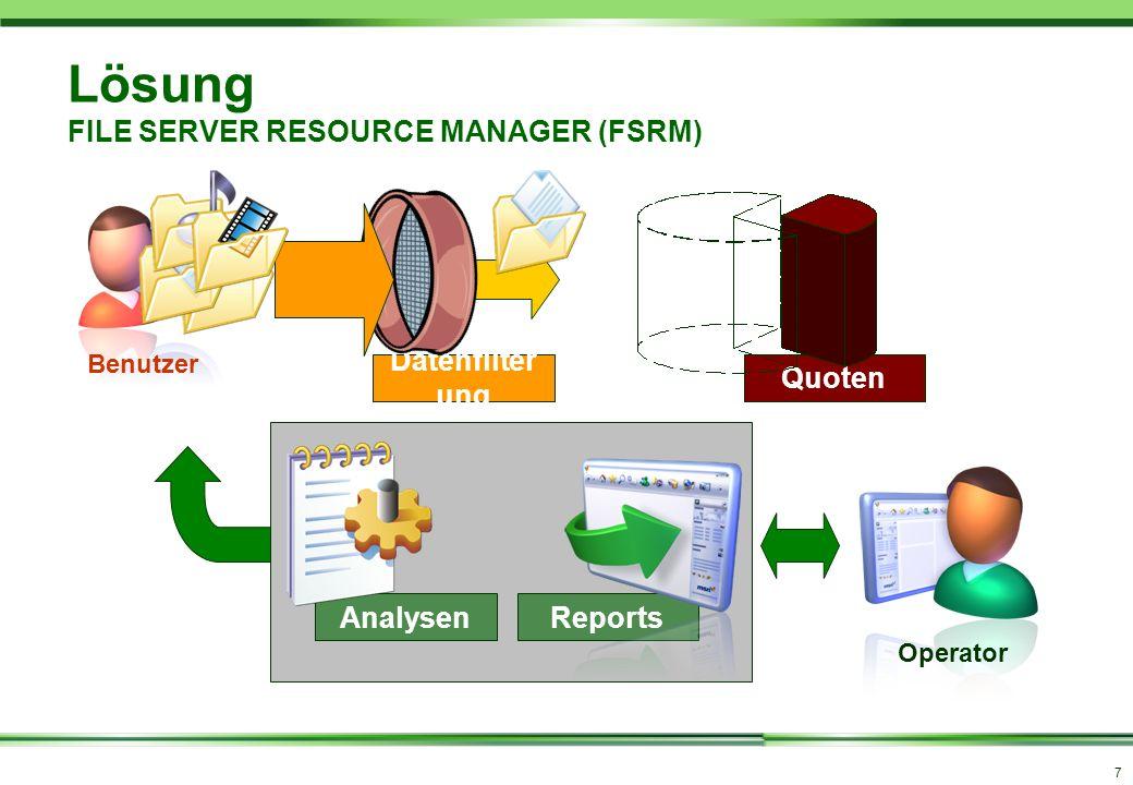 7 Quoten Datenfilter ung Lösung FILE SERVER RESOURCE MANAGER (FSRM) AnalysenReports Benutzer Operator