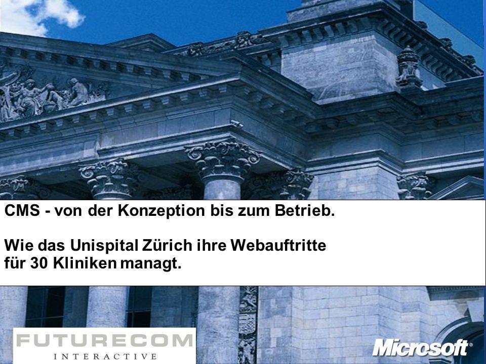 Partnerlogo CMS - von der Konzeption bis zum Betrieb. Wie das Unispital Zürich ihre Webauftritte für 30 Kliniken managt.