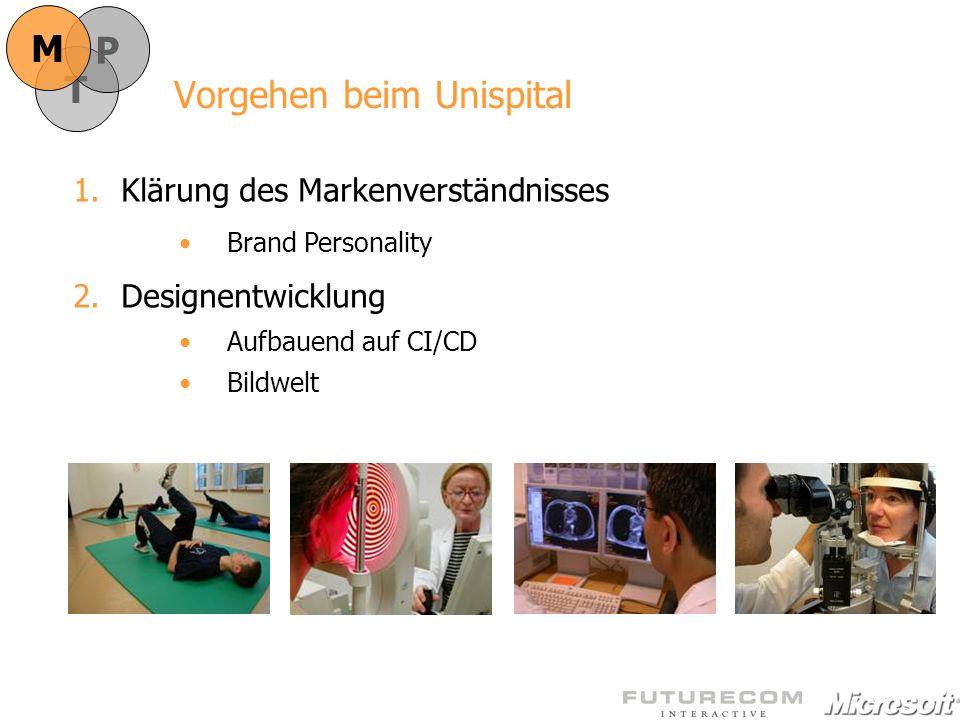 Vorgehen beim Unispital 1.Klärung des Markenverständnisses Brand Personality 2.Designentwicklung Aufbauend auf CI/CD Bildwelt T P M