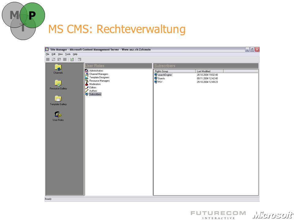 MS CMS: Rechteverwaltung T M P