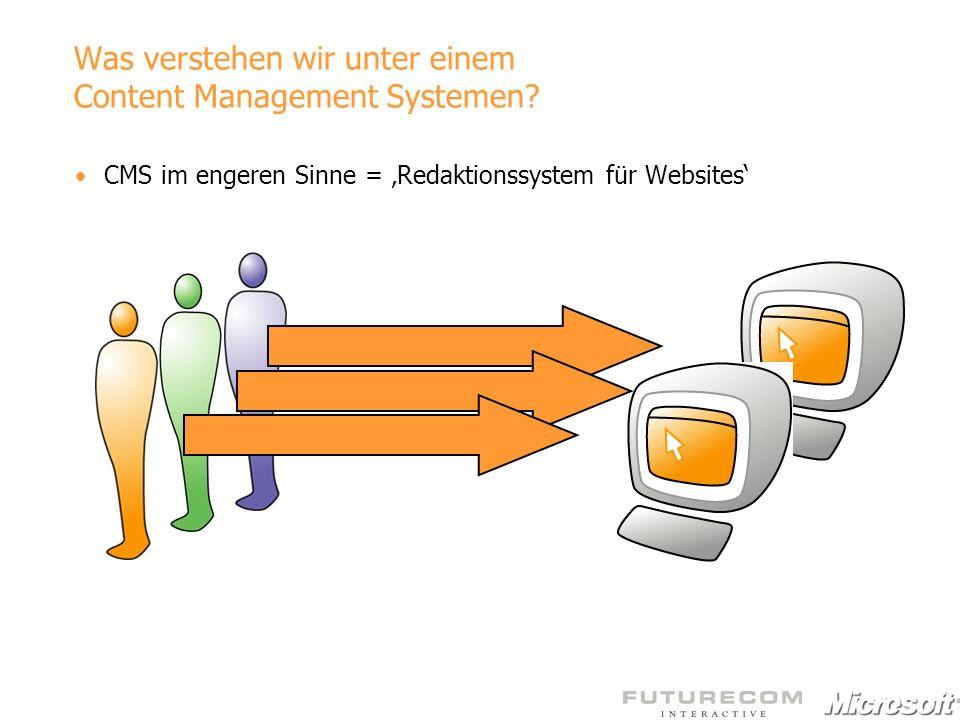 Was verstehen wir unter einem Content Management Systemen? CMS im engeren Sinne = Redaktionssystem für Websites