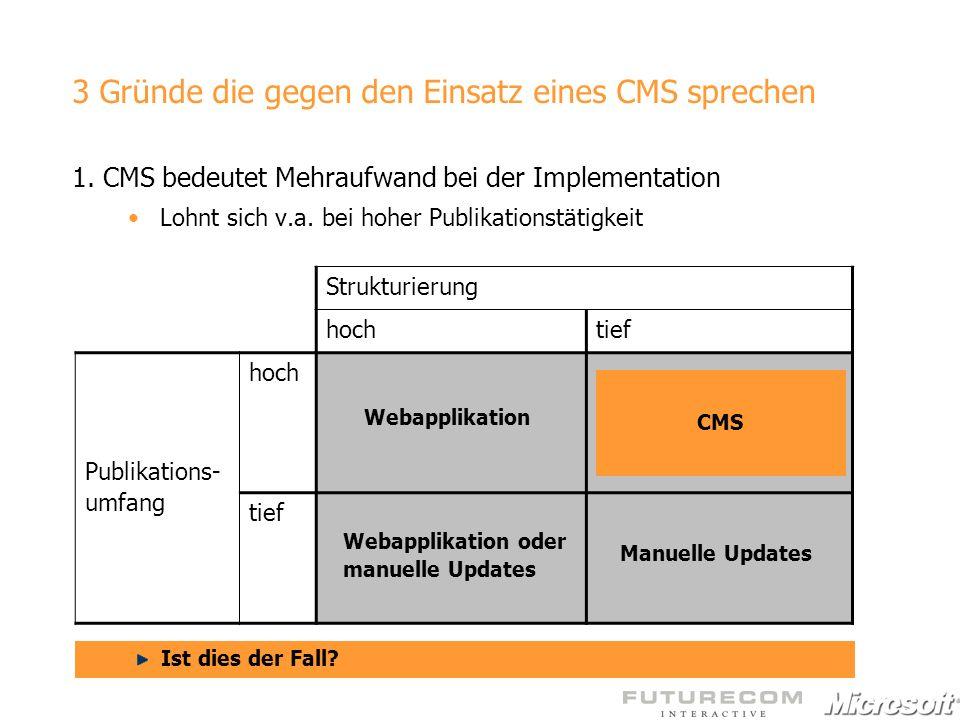 3 Gründe die gegen den Einsatz eines CMS sprechen 1. CMS bedeutet Mehraufwand bei der Implementation Lohnt sich v.a. bei hoher Publikationstätigkeit S