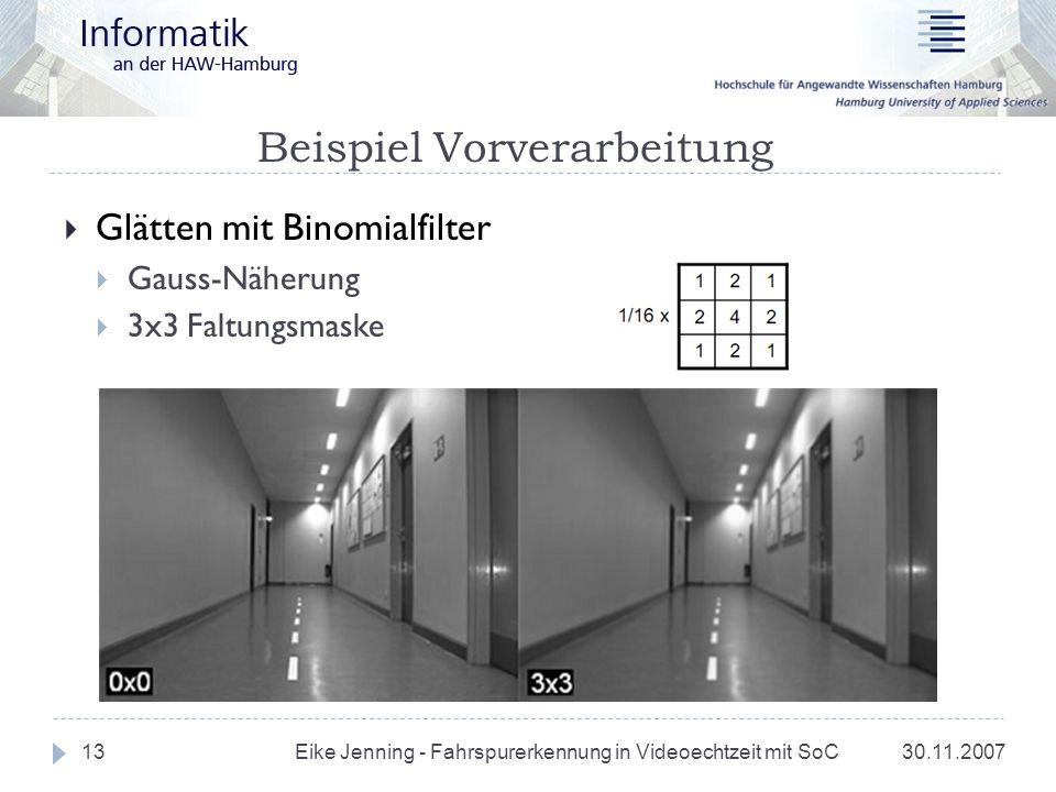 Beispiel Vorverarbeitung 30.11.2007 Eike Jenning - Fahrspurerkennung in Videoechtzeit mit SoC 13 Glätten mit Binomialfilter Gauss-Näherung 3x3 Faltung