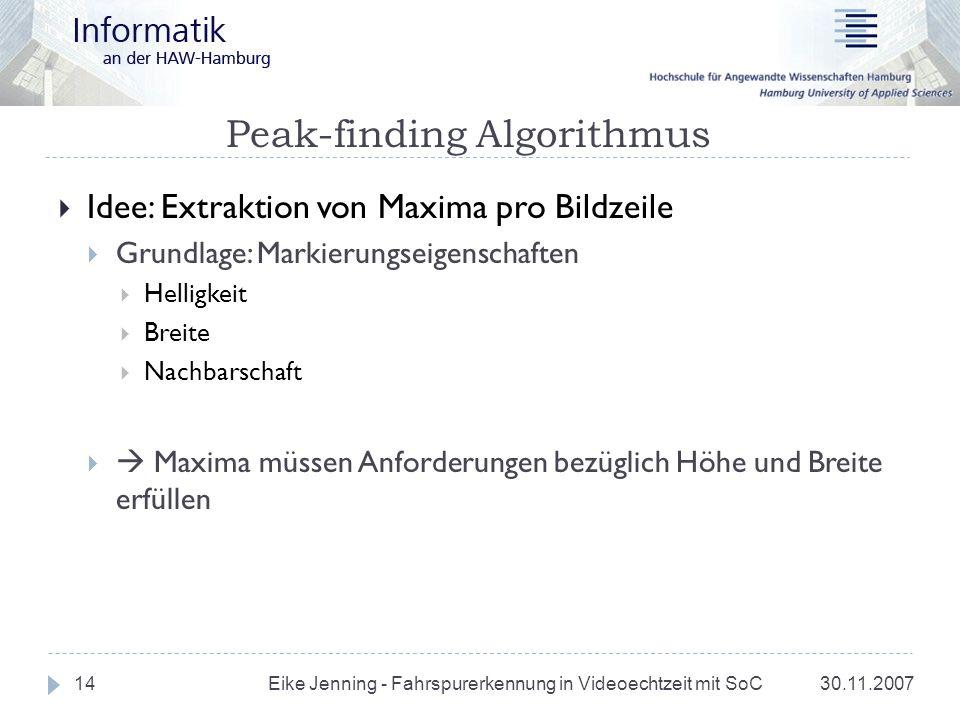 Peak-finding Algorithmus 30.11.2007 Eike Jenning - Fahrspurerkennung in Videoechtzeit mit SoC 14 Idee: Extraktion von Maxima pro Bildzeile Grundlage: