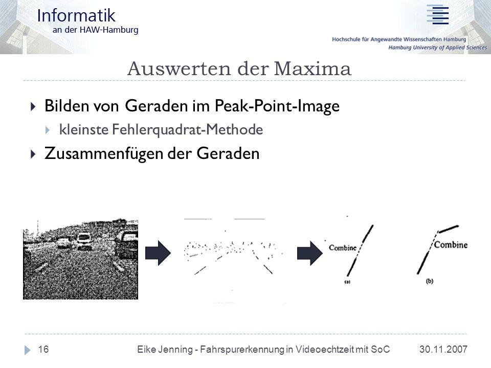 Auswerten der Maxima 30.11.2007 Eike Jenning - Fahrspurerkennung in Videoechtzeit mit SoC 16 Bilden von Geraden im Peak-Point-Image kleinste Fehlerqua