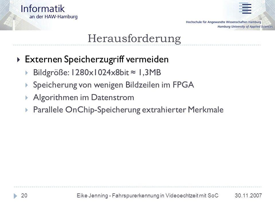 Herausforderung 30.11.2007 Eike Jenning - Fahrspurerkennung in Videoechtzeit mit SoC 20 Externen Speicherzugriff vermeiden Bildgröße: 1280x1024x8bit 1
