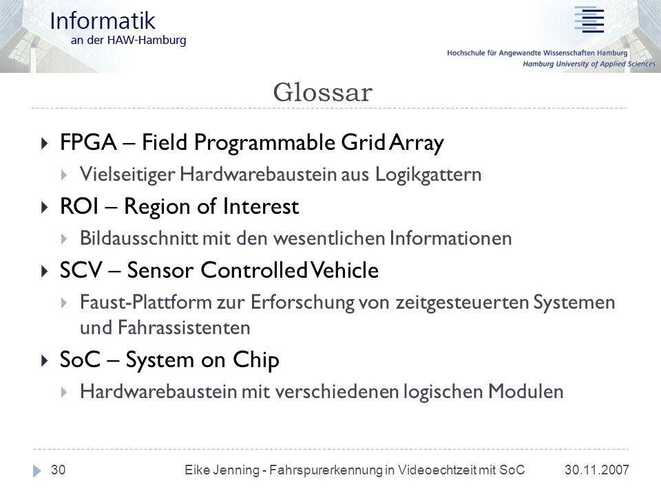 Glossar 30.11.2007 Eike Jenning - Fahrspurerkennung in Videoechtzeit mit SoC 30 FPGA – Field Programmable Grid Array Vielseitiger Hardwarebaustein aus