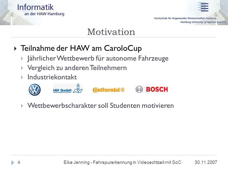 Motivation 30.11.2007 Eike Jenning - Fahrspurerkennung in Videoechtzeit mit SoC 4 Teilnahme der HAW am CaroloCup Jährlicher Wettbewerb für autonome Fa