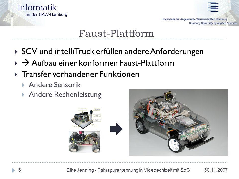 Ausblick 30.11.2007 Eike Jenning - Fahrspurerkennung in Videoechtzeit mit SoC 27 Projekt: Fahrzeugplattform aufbauen Sensorik Kommunikation Energieverbrauch Masterarbeit: Algorithmus-Evaluation in Software Architekturentwürfe für Hardware-Modellierung