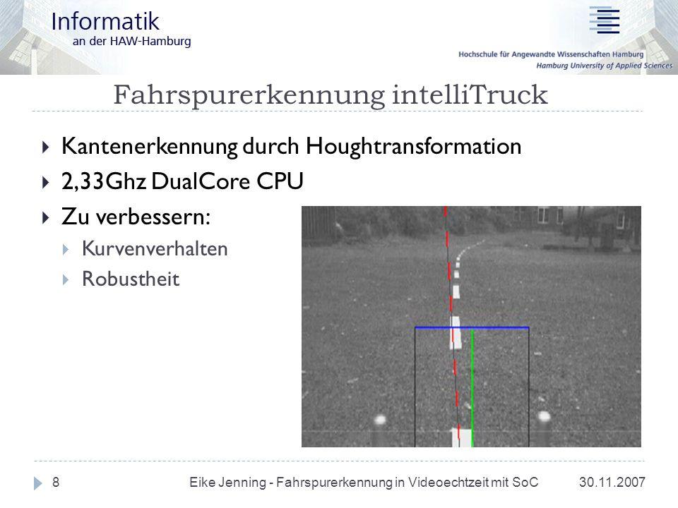 Fahrspurerkennung intelliTruck 30.11.2007 Eike Jenning - Fahrspurerkennung in Videoechtzeit mit SoC 8 Kantenerkennung durch Houghtransformation 2,33Gh