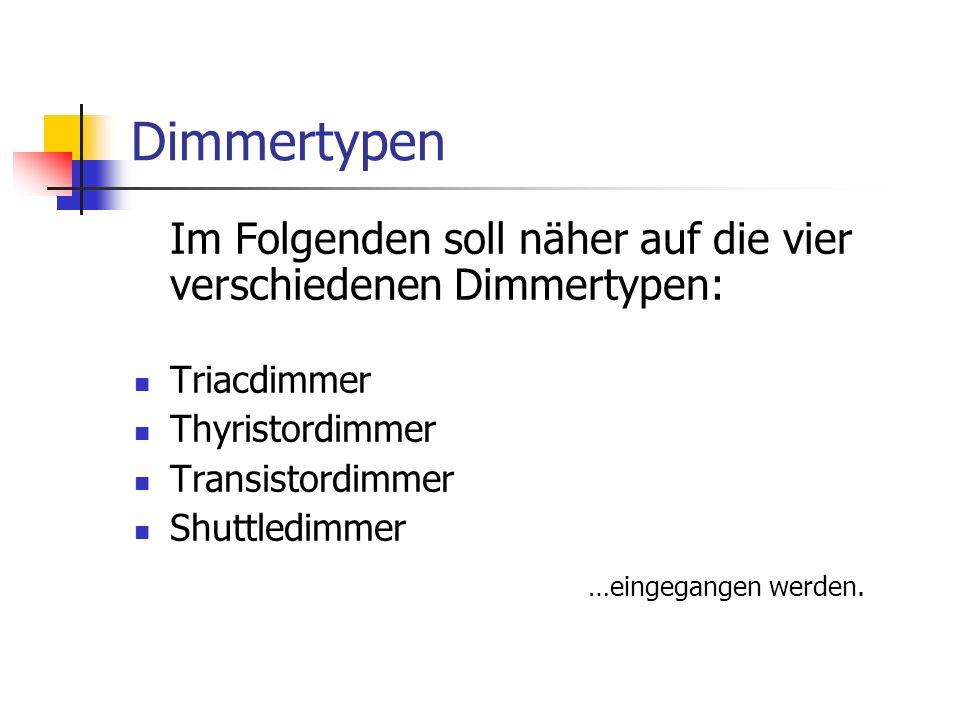 Dimmertypen Im Folgenden soll näher auf die vier verschiedenen Dimmertypen: Triacdimmer Thyristordimmer Transistordimmer Shuttledimmer …eingegangen we