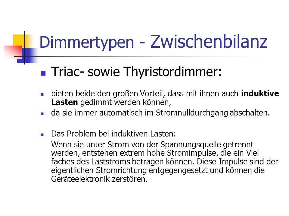 Dimmertypen - Zwischenbilanz Triac- sowie Thyristordimmer: bieten beide den großen Vorteil, dass mit ihnen auch induktive Lasten gedimmt werden können