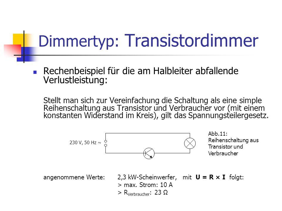 Dimmertyp: Transistordimmer Rechenbeispiel für die am Halbleiter abfallende Verlustleistung: Stellt man sich zur Vereinfachung die Schaltung als eine