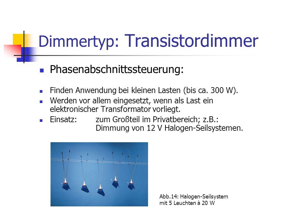 Dimmertyp: Transistordimmer Phasenabschnittssteuerung: Finden Anwendung bei kleinen Lasten (bis ca. 300 W). Werden vor allem eingesetzt, wenn als Last
