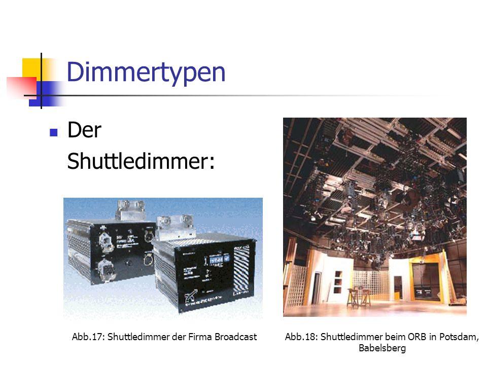 Dimmertypen Der Shuttledimmer: Abb.17: Shuttledimmer der Firma BroadcastAbb.18: Shuttledimmer beim ORB in Potsdam, Babelsberg