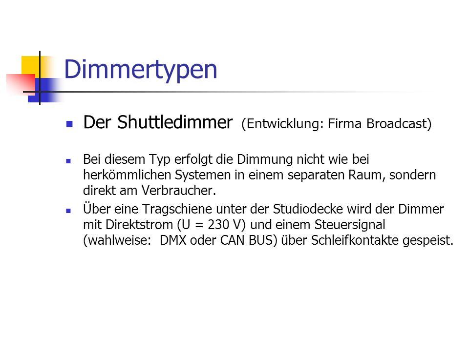 Dimmertypen Der Shuttledimmer (Entwicklung: Firma Broadcast) Bei diesem Typ erfolgt die Dimmung nicht wie bei herkömmlichen Systemen in einem separate