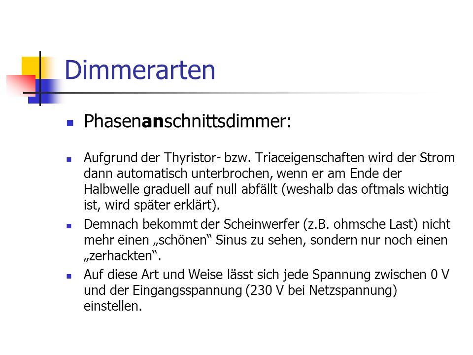 Dimmertypen Transistordimmer diesen Dimmertyp gibt es in verschiedenen Aus- führungen: 1.