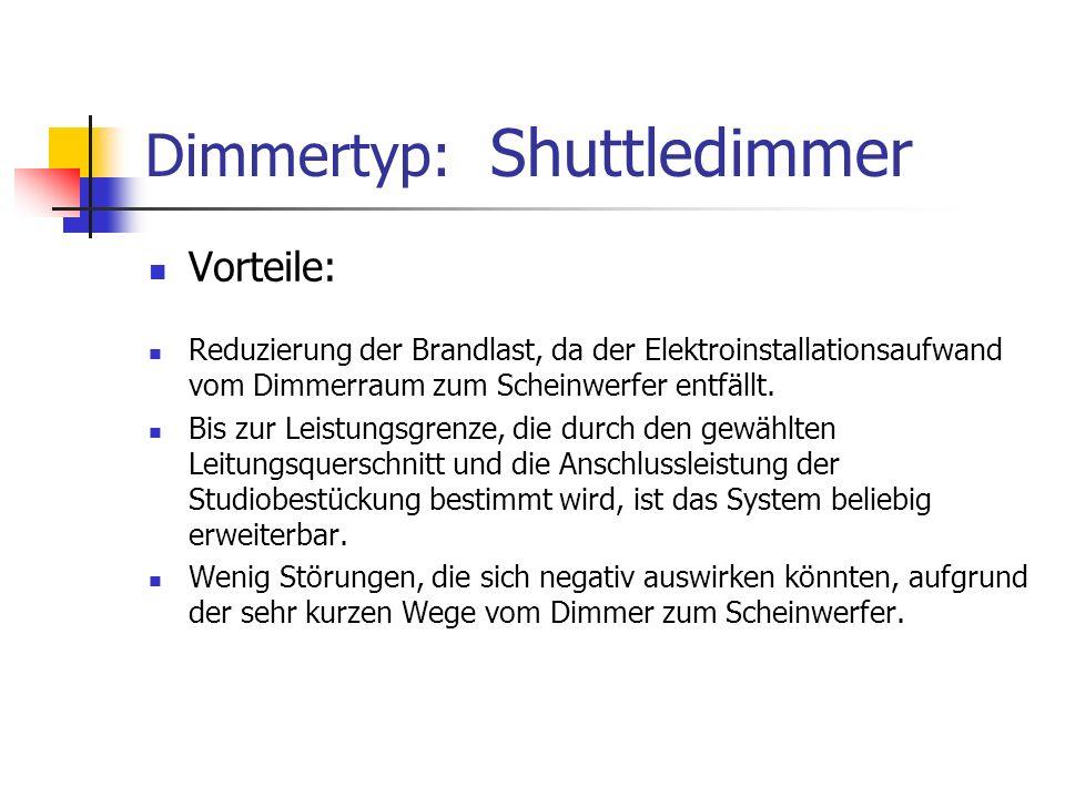 Dimmertyp: Shuttledimmer Vorteile: Reduzierung der Brandlast, da der Elektroinstallationsaufwand vom Dimmerraum zum Scheinwerfer entfällt. Bis zur Lei
