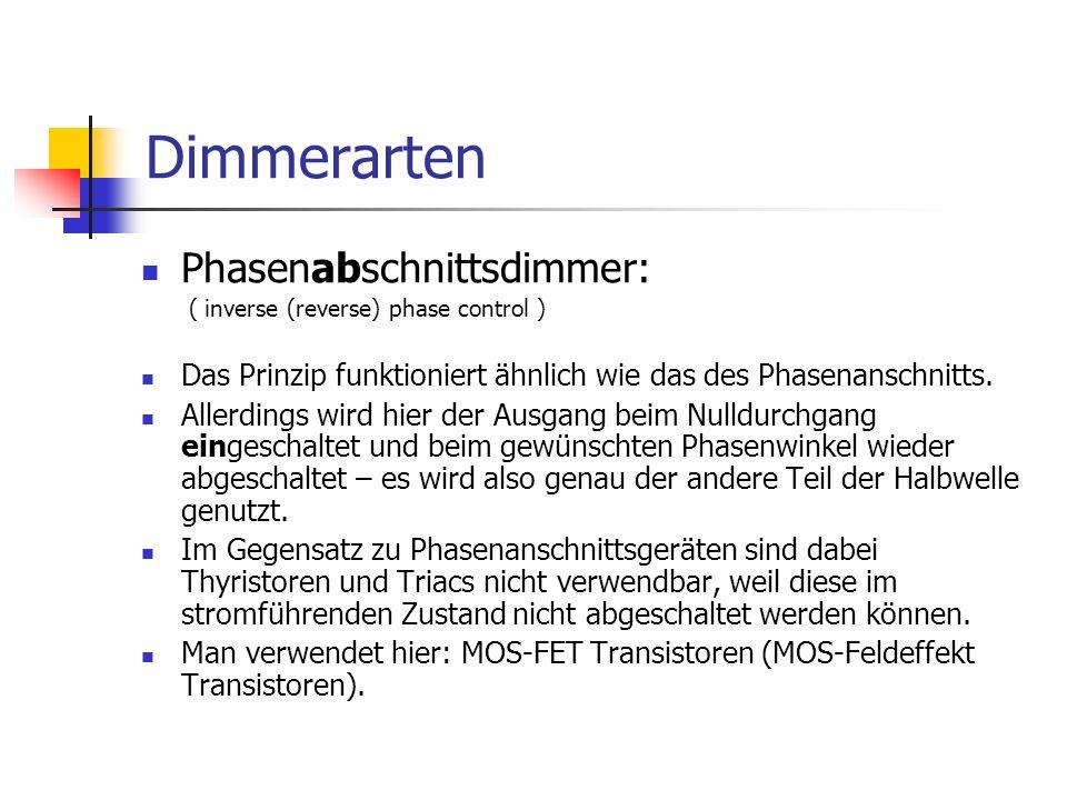 Dimmerarten Phasenabschnittsdimmer: ( inverse (reverse) phase control ) Das Prinzip funktioniert ähnlich wie das des Phasenanschnitts. Allerdings wird