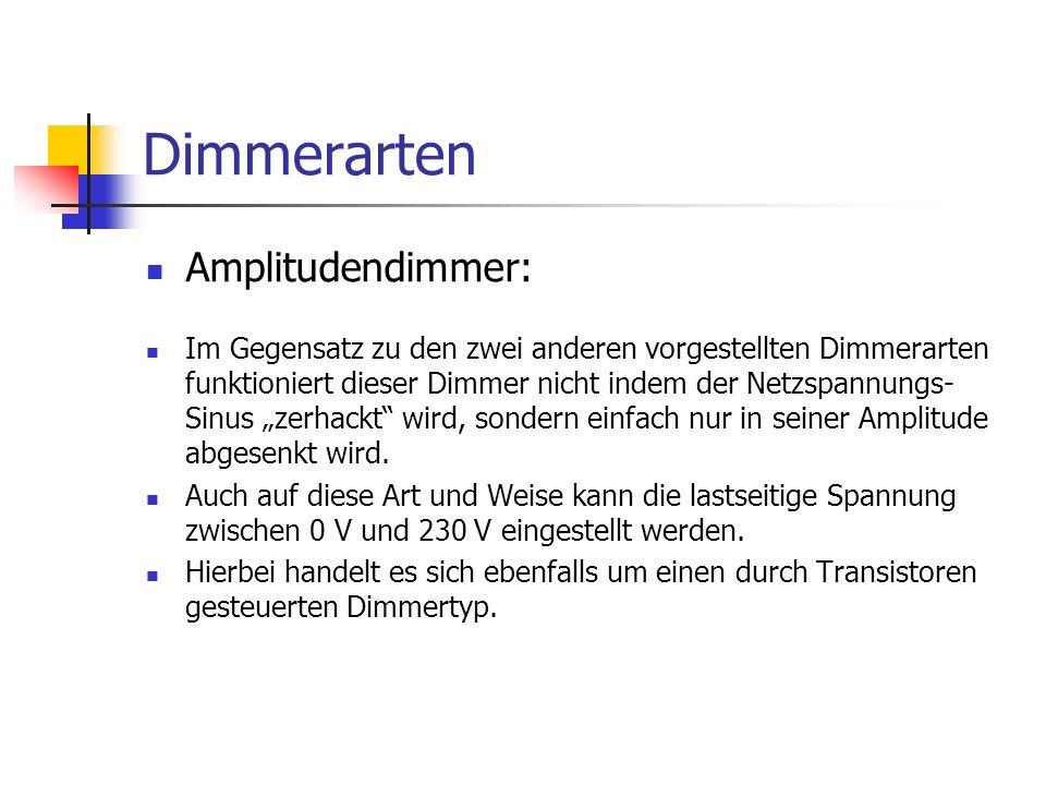 Dimmerarten Amplitudendimmer: Im Gegensatz zu den zwei anderen vorgestellten Dimmerarten funktioniert dieser Dimmer nicht indem der Netzspannungs- Sin