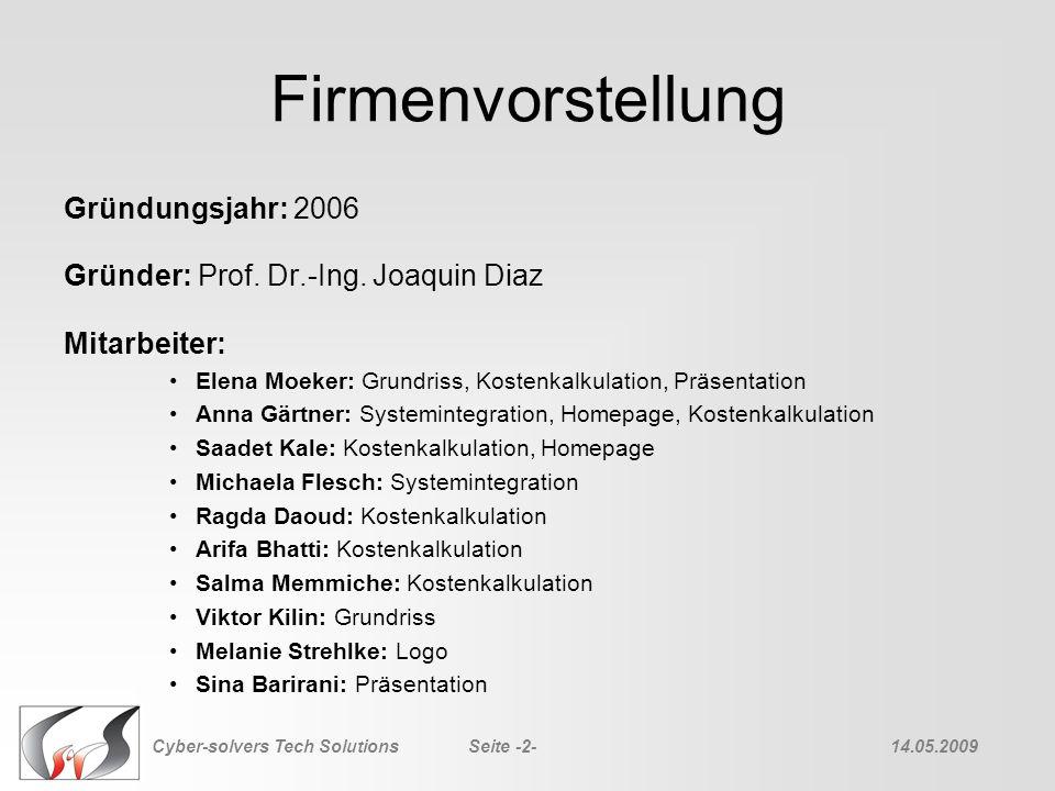 Firmenvorstellung Gründungsjahr: 2006 Gründer: Prof. Dr.-Ing. Joaquin Diaz Mitarbeiter: Elena Moeker: Grundriss, Kostenkalkulation, Präsentation Anna
