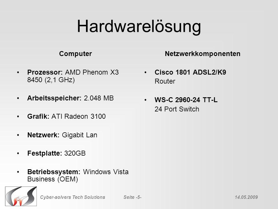 Hardwarelösung Computer Prozessor: AMD Phenom X3 8450 (2,1 GHz) Arbeitsspeicher: 2.048 MB Grafik: ATI Radeon 3100 Netzwerk: Gigabit Lan Festplatte: 32
