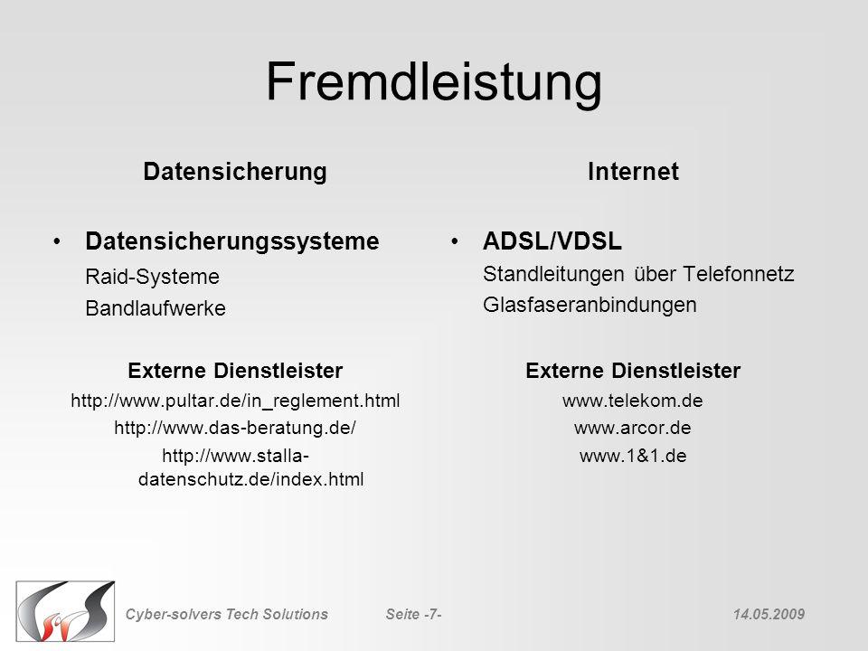 Fremdleistung Datensicherung Datensicherungssysteme Raid-Systeme Bandlaufwerke Externe Dienstleister http://www.pultar.de/in_reglement.html http://www