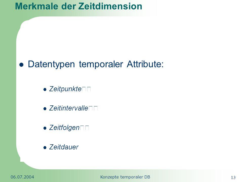 Republic of South Africa 06.07.2004Konzepte temporaler DB 13 Merkmale der Zeitdimension Datentypen temporaler Attribute: Zeitpunkte Zeitintervalle Zei