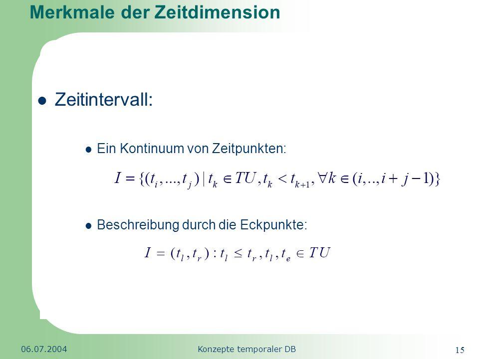 Republic of South Africa 06.07.2004Konzepte temporaler DB 15 Merkmale der Zeitdimension Zeitintervall: Ein Kontinuum von Zeitpunkten: Beschreibung dur