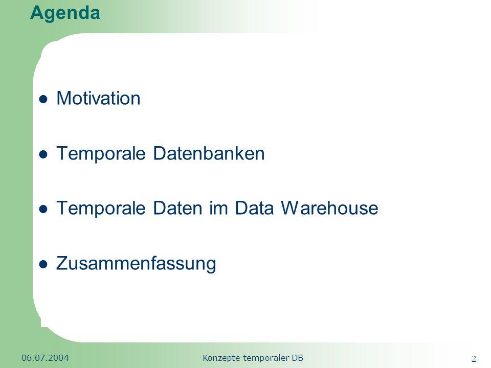 Republic of South Africa 06.07.2004Konzepte temporaler DB 33 Agenda Motivation Temporale Datenbanken Begriffsdefinition Merkmale der Zeitdimension Temporale Datenmodelle TSQL2 & SQL/Temporal Datentypen für Zeitangaben Ansätze temporaler Datenbanken Temporale Daten im Data Warehouse Zusammenfassung