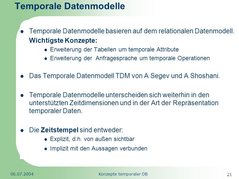 Republic of South Africa 06.07.2004Konzepte temporaler DB 21 Temporale Datenmodelle Temporale Datenmodelle basieren auf dem relationalen Datenmodell.