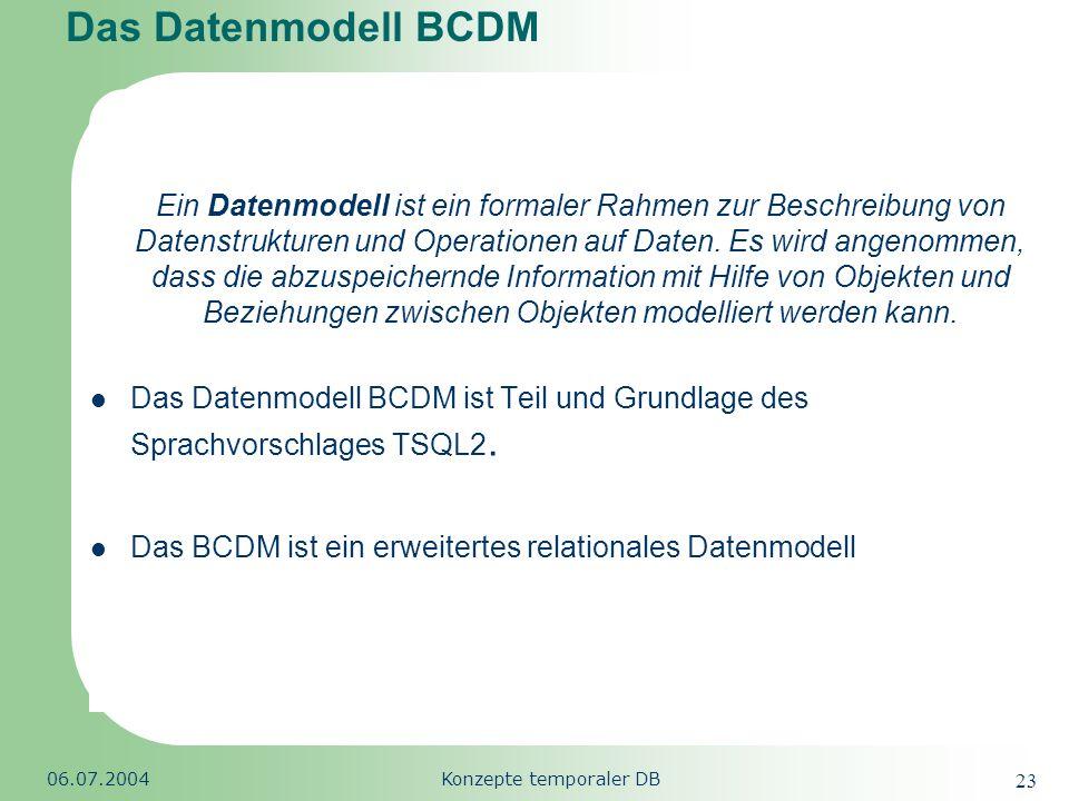 Republic of South Africa 06.07.2004Konzepte temporaler DB 23 Das Datenmodell BCDM Ein Datenmodell ist ein formaler Rahmen zur Beschreibung von Datenst