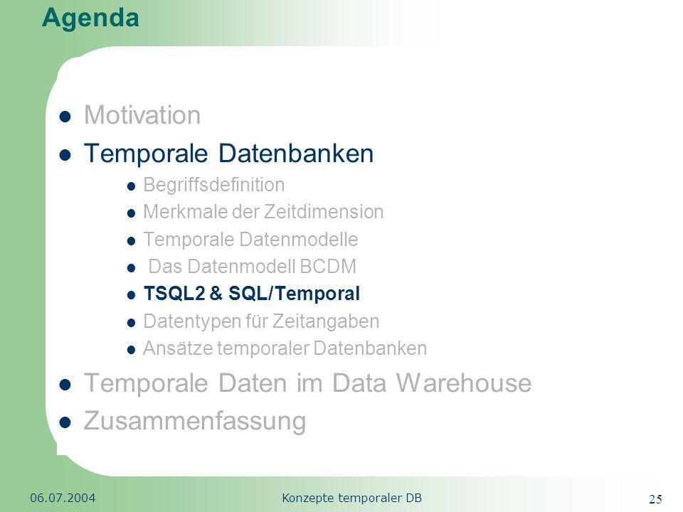 Republic of South Africa 06.07.2004Konzepte temporaler DB 25 Agenda Motivation Temporale Datenbanken Begriffsdefinition Merkmale der Zeitdimension Tem