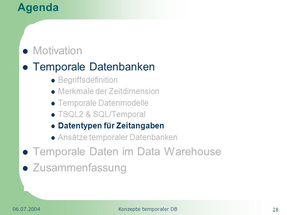 Republic of South Africa 06.07.2004Konzepte temporaler DB 28 Agenda Motivation Temporale Datenbanken Begriffsdefinition Merkmale der Zeitdimension Tem