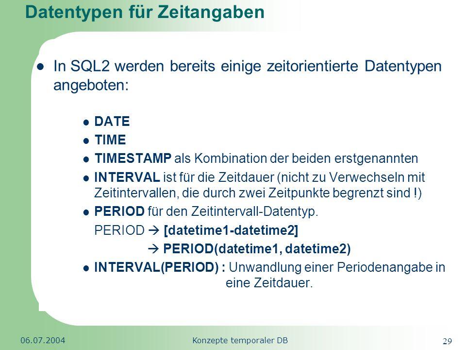 Republic of South Africa 06.07.2004Konzepte temporaler DB 29 Datentypen für Zeitangaben In SQL2 werden bereits einige zeitorientierte Datentypen angeb