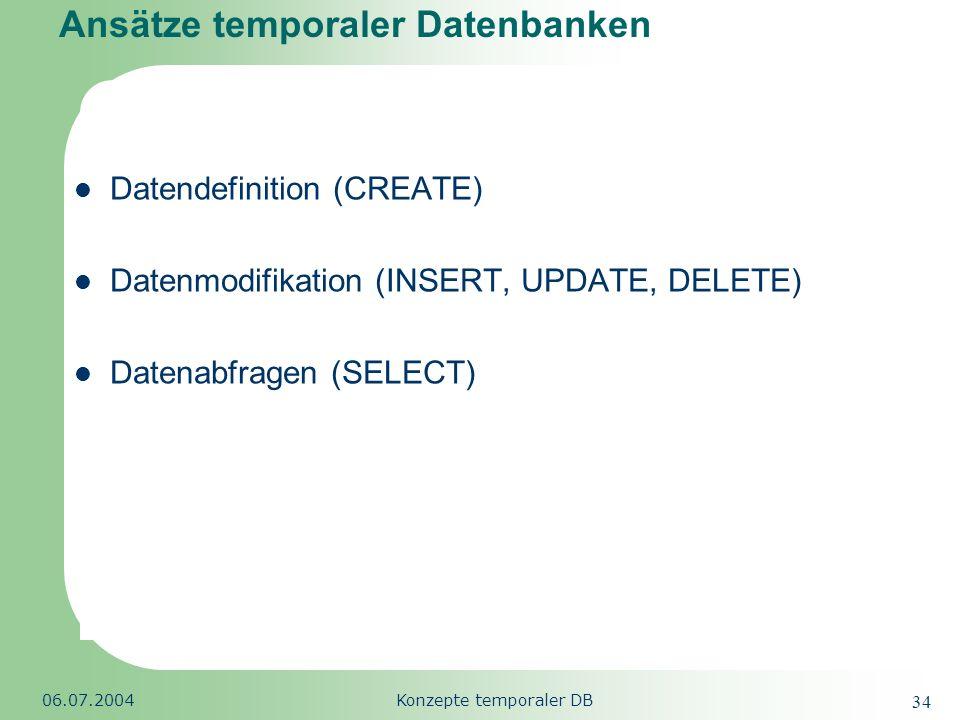 Republic of South Africa 06.07.2004Konzepte temporaler DB 34 Ansätze temporaler Datenbanken Datendefinition (CREATE) Datenmodifikation (INSERT, UPDATE