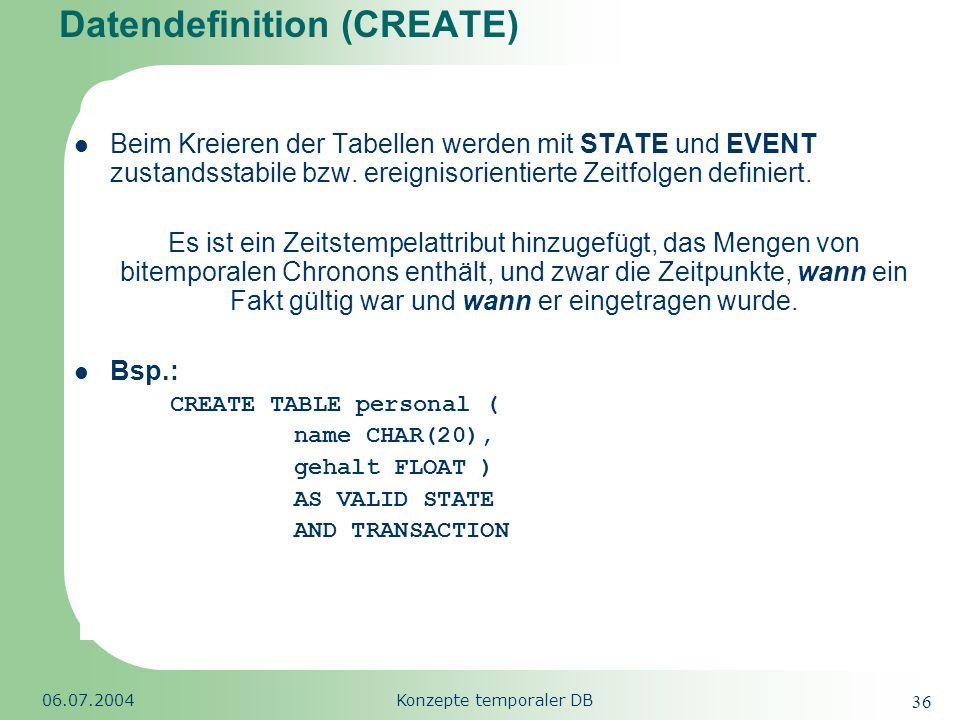 Republic of South Africa 06.07.2004Konzepte temporaler DB 36 Datendefinition (CREATE) Beim Kreieren der Tabellen werden mit STATE und EVENT zustandsst