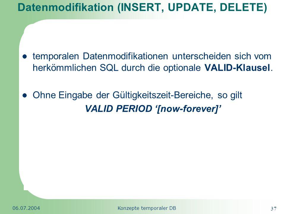 Republic of South Africa 06.07.2004Konzepte temporaler DB 37 Datenmodifikation (INSERT, UPDATE, DELETE) temporalen Datenmodifikationen unterscheiden s