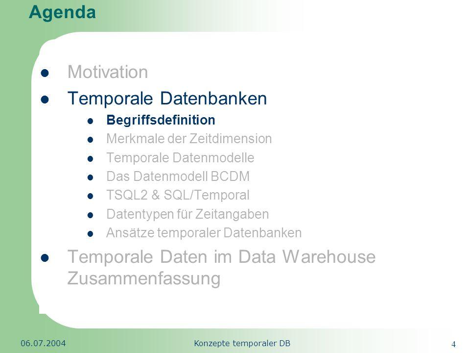 Republic of South Africa 06.07.2004Konzepte temporaler DB 25 Agenda Motivation Temporale Datenbanken Begriffsdefinition Merkmale der Zeitdimension Temporale Datenmodelle Das Datenmodell BCDM TSQL2 & SQL/Temporal Datentypen für Zeitangaben Ansätze temporaler Datenbanken Temporale Daten im Data Warehouse Zusammenfassung