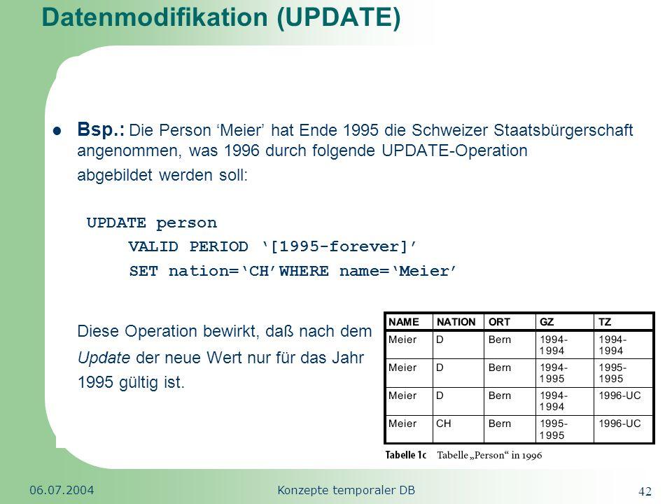 Republic of South Africa 06.07.2004Konzepte temporaler DB 42 Datenmodifikation (UPDATE) Bsp.: Die Person Meier hat Ende 1995 die Schweizer Staatsbürge