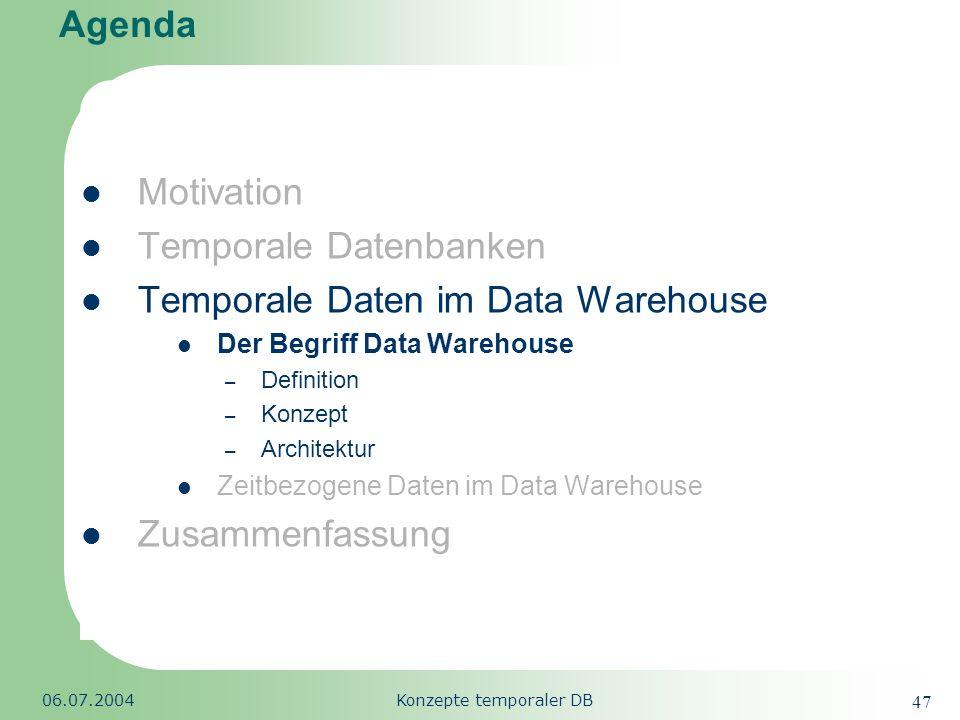 Republic of South Africa 06.07.2004Konzepte temporaler DB 47 Agenda Motivation Temporale Datenbanken Temporale Daten im Data Warehouse Der Begriff Dat