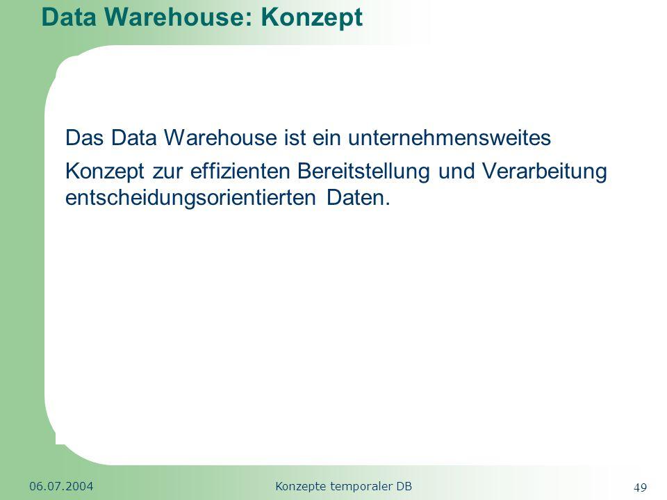 Republic of South Africa 06.07.2004Konzepte temporaler DB 49 Data Warehouse: Konzept Das Data Warehouse ist ein unternehmensweites Konzept zur effizie