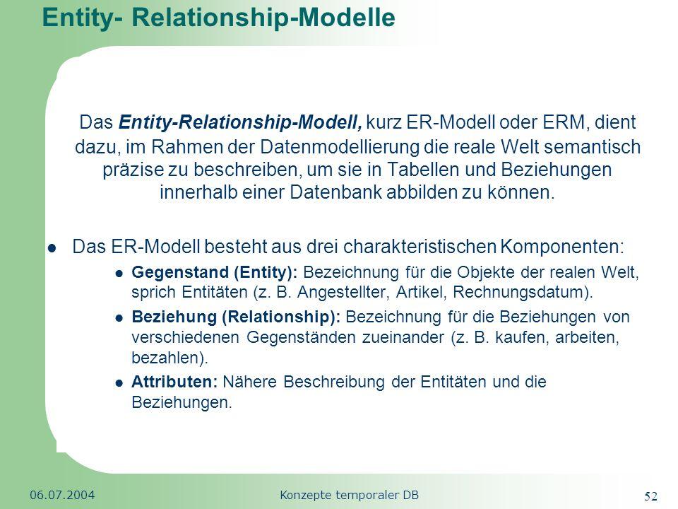 Republic of South Africa 06.07.2004Konzepte temporaler DB 52 Entity- Relationship-Modelle Das Entity-Relationship-Modell, kurz ER-Modell oder ERM, die
