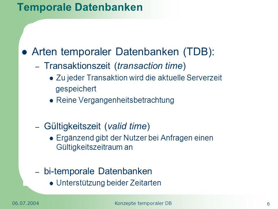 Republic of South Africa 06.07.2004Konzepte temporaler DB 7 Agenda Motivation Temporale Datenbanken Begriffsdefinition Merkmale der Zeitdimension Temporale Datenmodelle Das Datenmodell BCDM TSQL2 & SQL/Temporal Datentypen für Zeitangaben Ansätze temporaler Datenbanken Temporale Daten im Data Warehouse Zusammenfassung