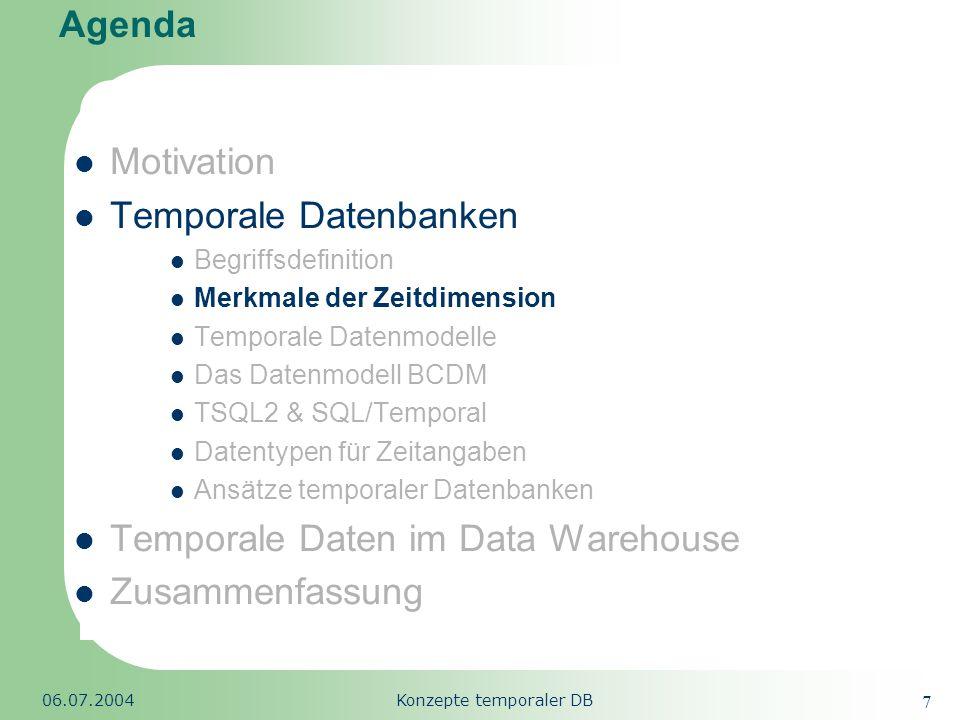 Republic of South Africa 06.07.2004Konzepte temporaler DB 28 Agenda Motivation Temporale Datenbanken Begriffsdefinition Merkmale der Zeitdimension Temporale Datenmodelle TSQL2 & SQL/Temporal Datentypen für Zeitangaben Ansätze temporaler Datenbanken Temporale Daten im Data Warehouse Zusammenfassung